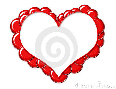 Heart Frame with Red Bubbles