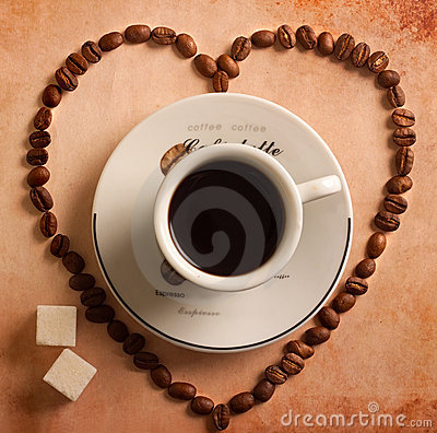 Free Heart From Coffee Beans Around Cup Stock Photography - 18014502