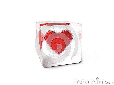 Heart frozen in an ice cube
