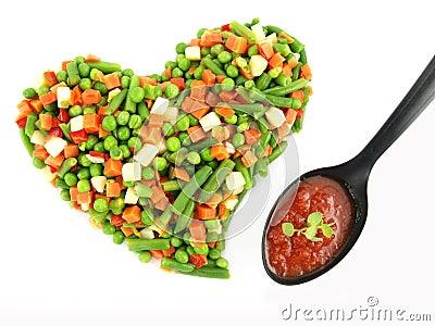 Heart of a frozen mixed vegetables