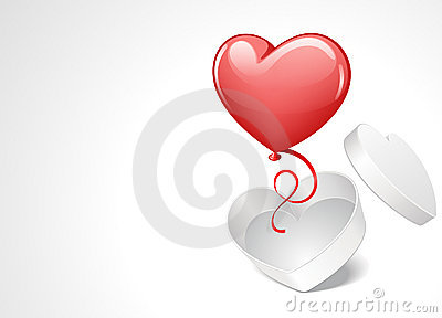 Heart gift open with balloon