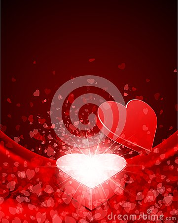 Heart Gift Present With Fly Hearts Royalty Free Stock Photos - Image: 18076668
