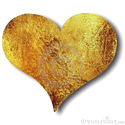 Heart in gold or bronze grunge texture