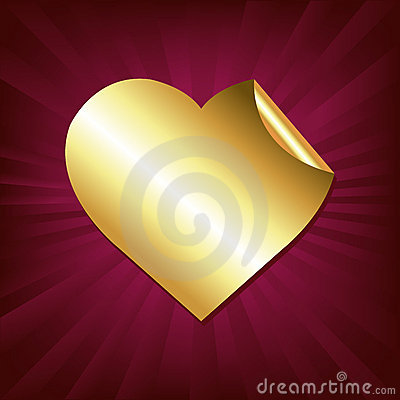 Heart Of Gold Sticker. Vector
