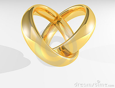 two gold wedding rings and gold heart stock photo image 49186838 - Heart Wedding Ring