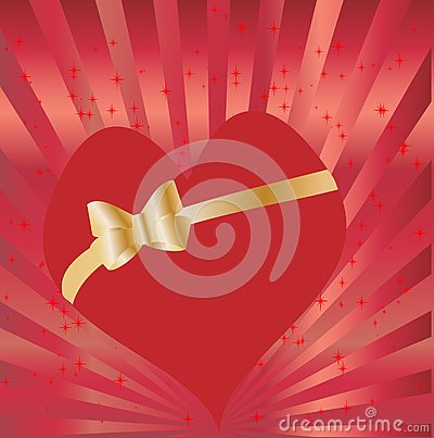 Heart with golden bow