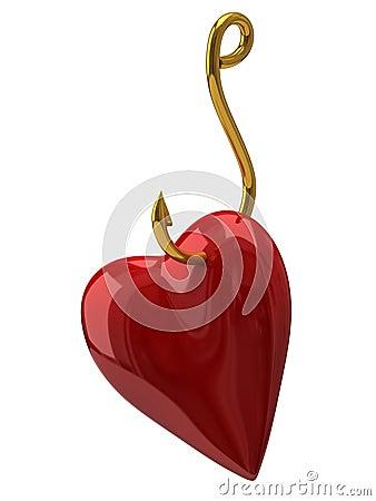 Heart on the golden hook