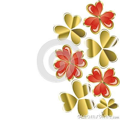 Heart of golden leaf clover