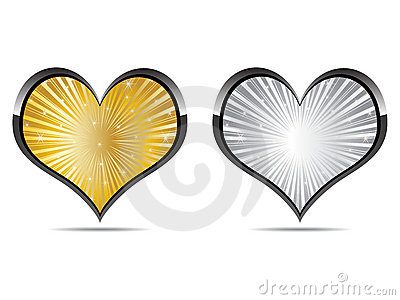 Heart golden and silver