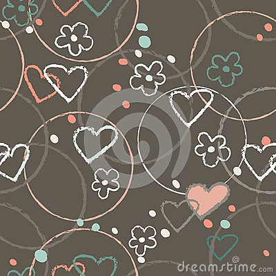 Free Heart Graphic Doodle Brown Color Seamless Pattern Illustration Vector Royalty Free Stock Images - 108177319