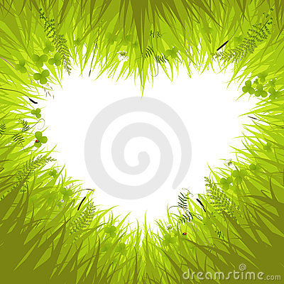 Heart in grass