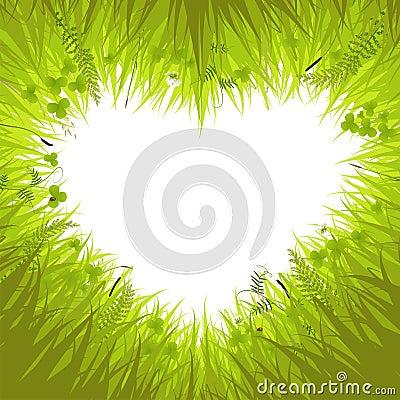 Heart in grass