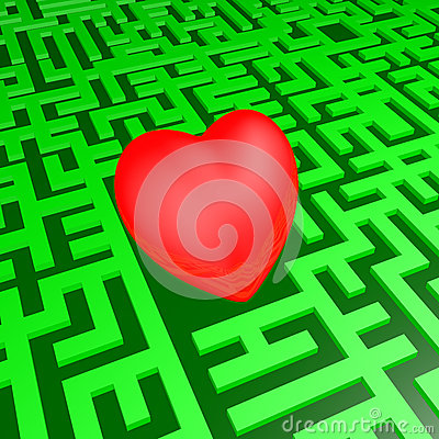Heart in green labyrinth