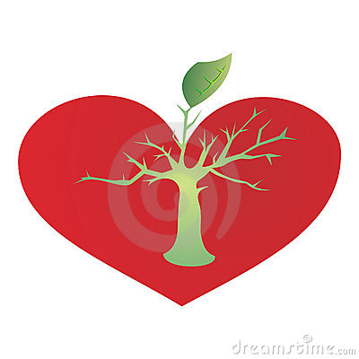 Heart and growing tree