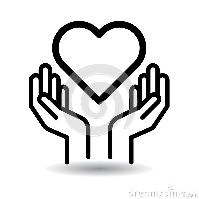 Heart in hands icon Vector Illustration