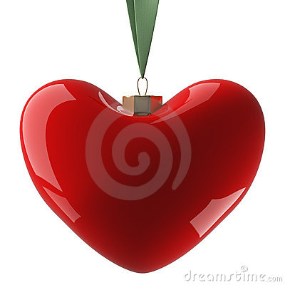Heart hanging on a ribbon.
