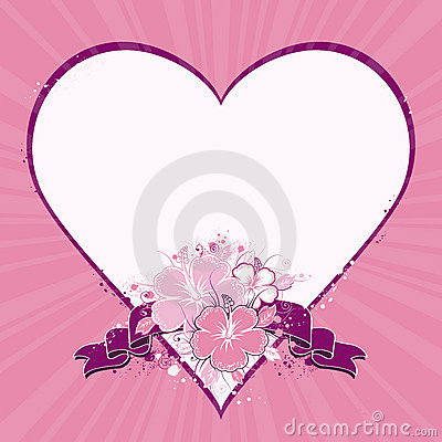 Heart with hibiscus, vector