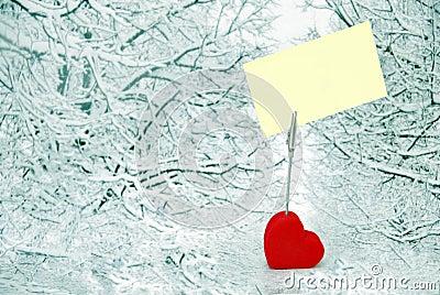 Heart holder over winter background