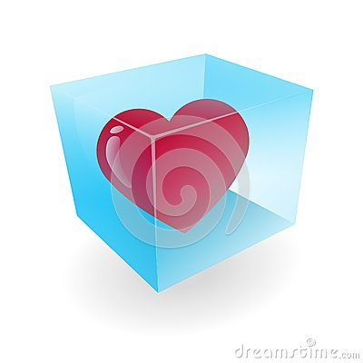Heart in the ice cube