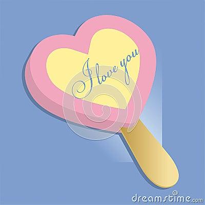 Heart icecream, lollipop illustrations Vector Illustration