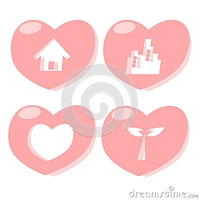 Heart icon city town tree