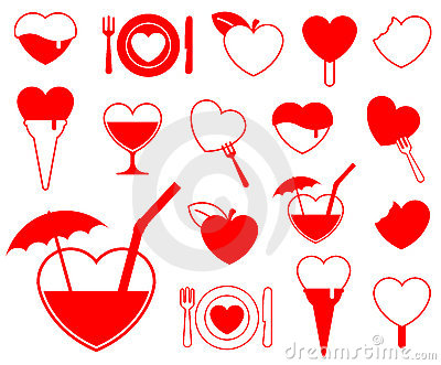 Heart icon collection - food/b