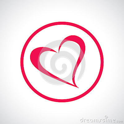Free Heart Icon. Pink Flat Symbol In A Circle. Royalty Free Stock Photo - 48776165