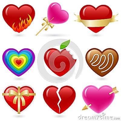 Free Heart Icon Set Royalty Free Stock Photos - 21024798