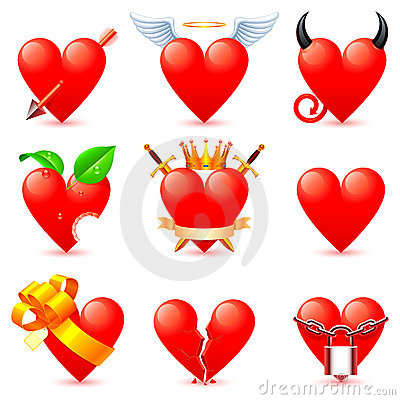 Free Heart Icons. Royalty Free Stock Photography - 17940007