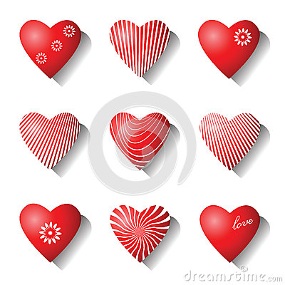 Heart icons. Valentine design elements.