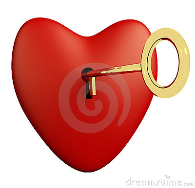 Heart With Key And White Background