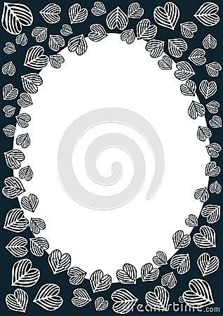 Heart leaves border frame