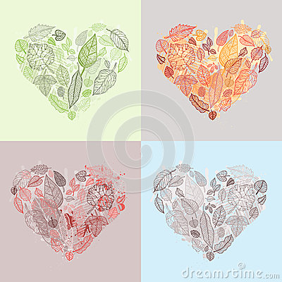 Heart of the leaves. Seasons Background.