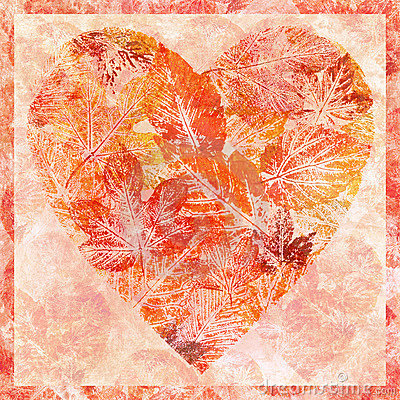 Heart from leaves, watercolor