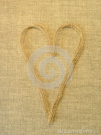 Heart on linen fabric