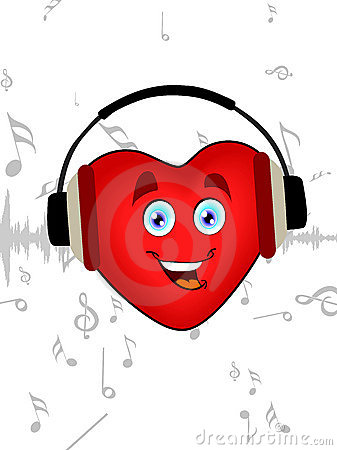 Heart listening music with headphone.
