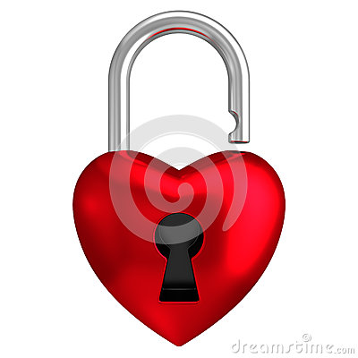 Heart lock isolated white background