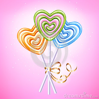 Free Heart Lollipop Candies Vector Illustration. Royalty Free Stock Photos - 84655098