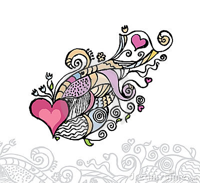 Heart of love / doodle vector illustration