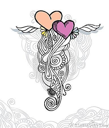 Heart of love / doodle vector illustration