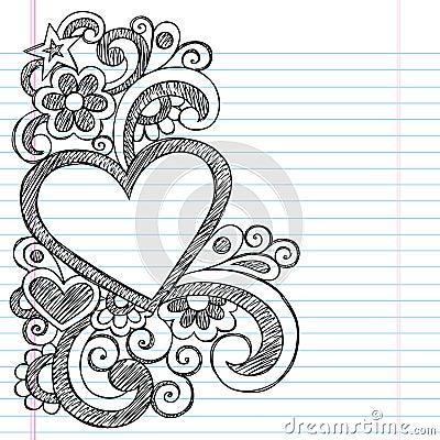 Heart Love Frame Sketchy Doodle Vector Design