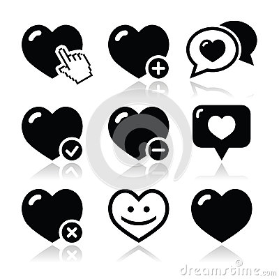 Heart, love  icons set