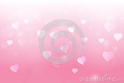 Heart and love light bokeh in pink background Vector Illustration