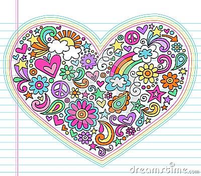 Heart Love Psychedelic Doodles Vector Set