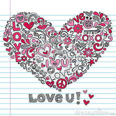 Heart Love Sketchy Doodles Vector Illustration