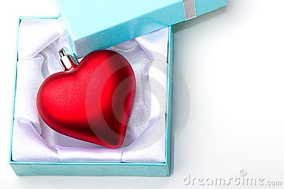 Heart love symbol gift in jewelry box Valentine