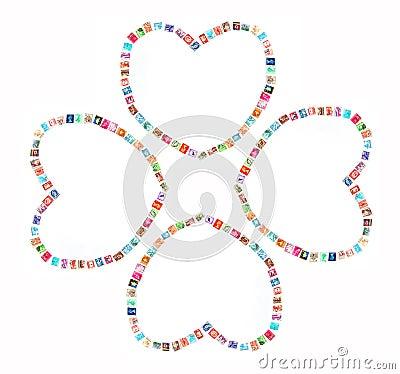 Heart lucky clover concept