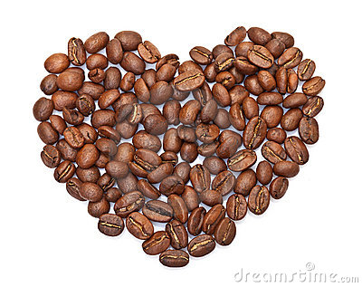 Heart made ​​from coffee beans