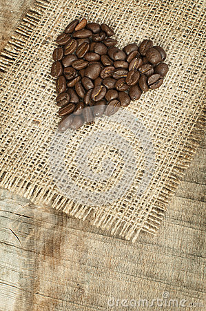 Heart made ​​of coffee beans