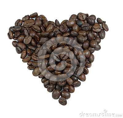 Heart made of coffee grains